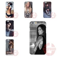 For Apple iPhone 4 4S 5 5C SE 6 6S 7 7S Plus 4.7 5.5 Soft TPU Silicon Custom Design Hot Blonde Tattooed Leg Sleeve Girl