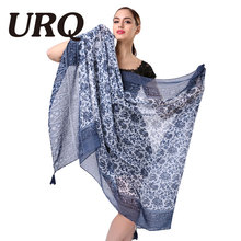 Fashion Woman Scarves with Tassels Floral Printed Scarf for Women Girl 100cm*180cm Large Size Summer Shawls soft V9A18544(China)