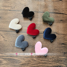 Lovely Velvet Heart Hair Clips Whole Wrapped Safety Girls' Hair Grips Accessories Red Pink Hairpins