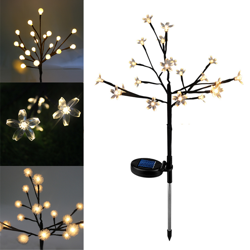 Solar Tree Light 20 LEDs Garden Light Outdoor Landscape Lawn Lamp Waterproof Warm White Led Solar Lamp For Patio Christmas Tree