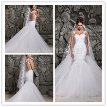 Designers White Lace And See Through Mermaid Wedding Dresses With Removable Train Tulle Bridal Dresses