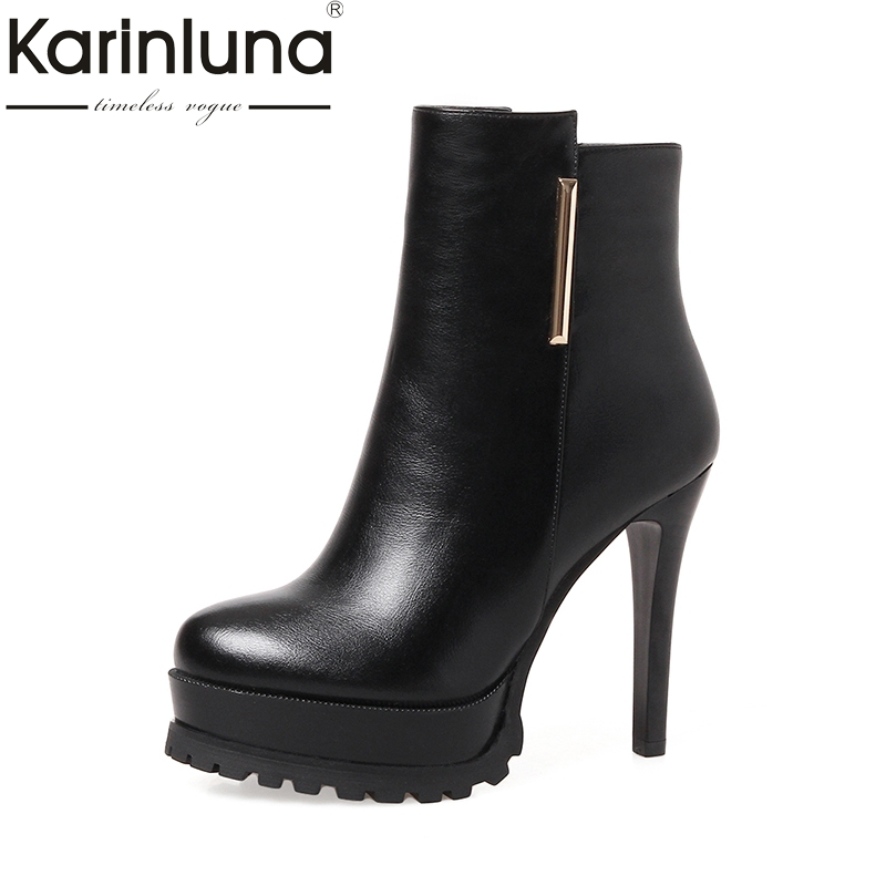 Karinluna Wholesale Big Sizes 33-43 2018 Sexy Super High Heels Red Women Shoes Woman Party Ankle Boots Black<br>