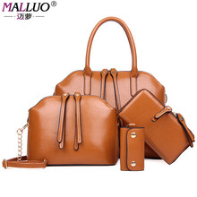 MALLUO 4 Pcs/Set Vintage Handbags Hot Sale Women Messenger Bags Female Purse Shoulder Bag Office Lady Casual Tote Bolso Pattern