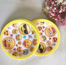 10pcs/lot 7inch  Party Lovely smiling face Emoji Cartoon plate Theme  Baby Shower Party Kid Boy Birthday Party Supplier