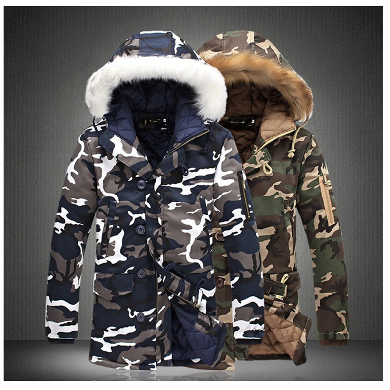 2018 winter jacket Men's  Women's fashion camouflage pattern Long Lovers Jacket Thickening casual hooded fur collar Cotton coats