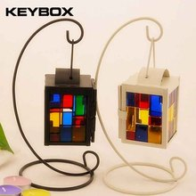 Newest Hanging Design Metal Vintage Colorful Pattern Lantern Candlestick Wedding Home Decor Candle Holder(China)