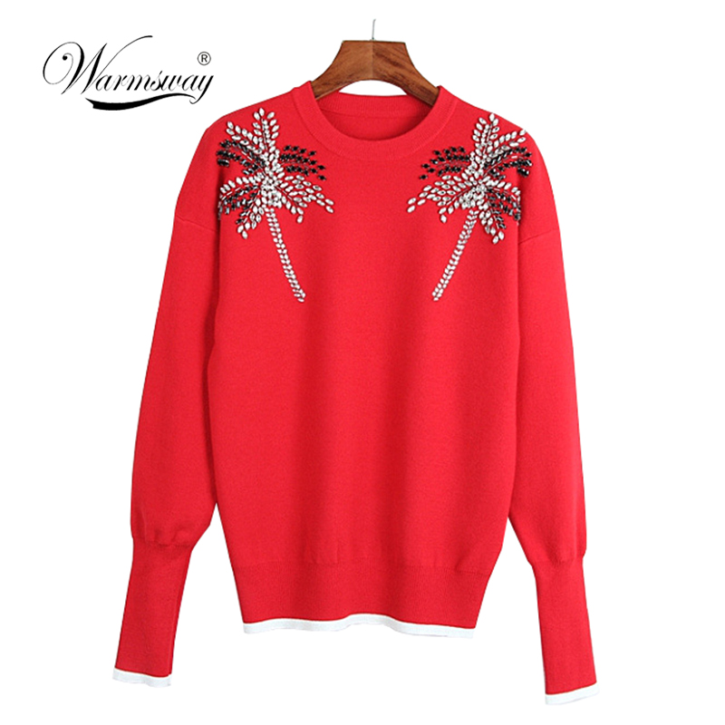 Women 2018 Autumn Winter Fashion Designer Pullover Knitwear Rhinestone Hand Made Tree Knit Sweater C-292