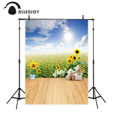 Allenjoy photo background Sunflower flowers field wood board cute toy sheep sky fotografia camera fotografica profissional(China)