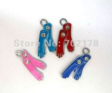 50pcs mix color socks zinc alloy Hang Charm 25x14mm wholesale fit necklace cell phone charms free shipping