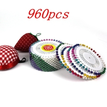 wholesale 960pcs/set colorful kintted Pearl light locating pins patchwork sewing pins positioning needle garment accessory DIY(China)
