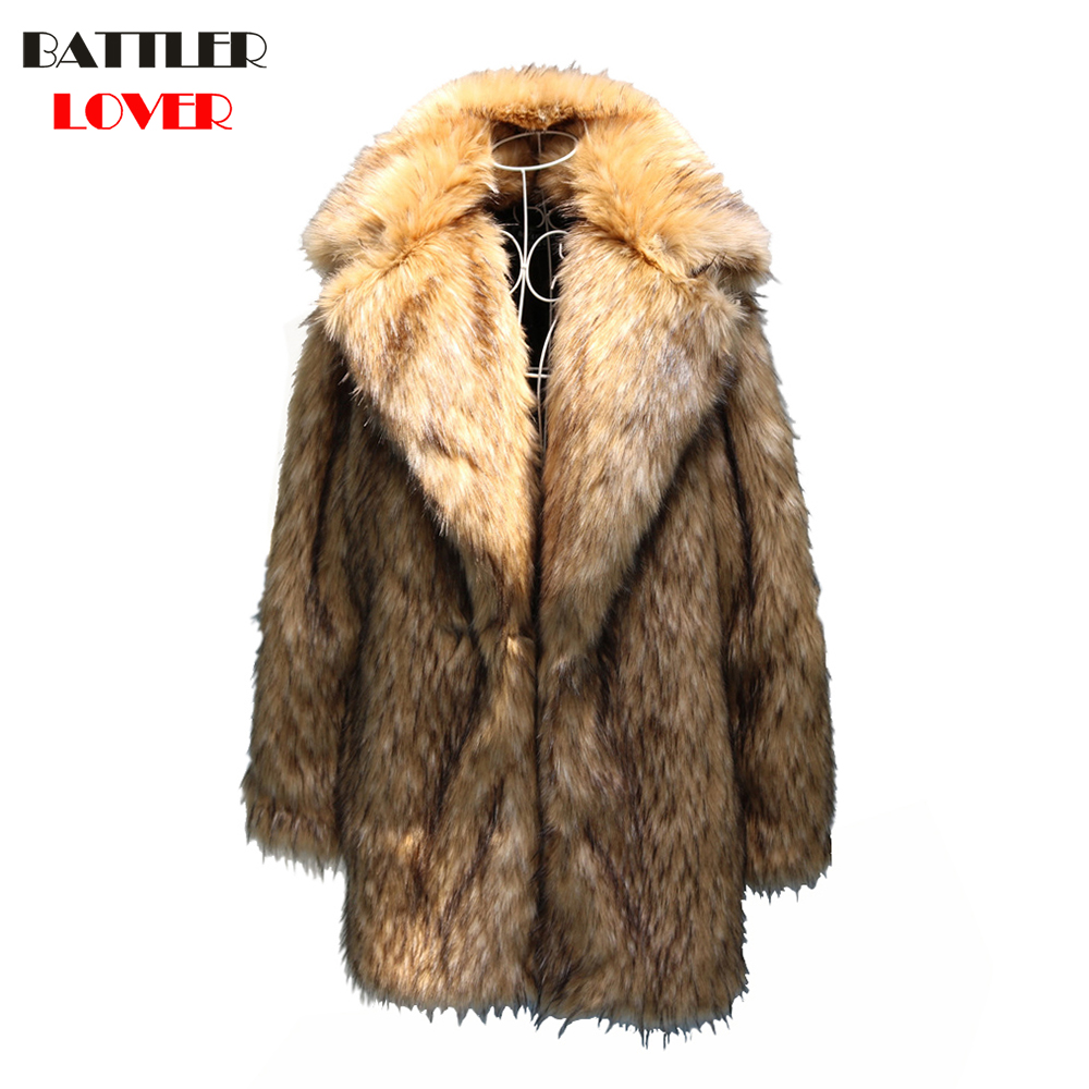 S-6XL New Fashion Men Winter Clothes Autumn Clothing High Quality Raccoon Fur Coat Faux Fur Coat Mens Winter Trench Overcoats
