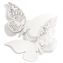 A pack of 10pcs white butterfly pearl light Cup card