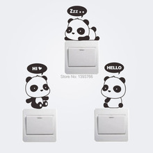 New Cheap Carton Panda Switch Refrigerator Car Wall Stickers kids room mural Home Decoration(China)