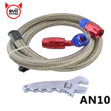 AN10 Stainless Steel Silver Oil Fuel Racing Hose 1 Meter+AN10 Straight 90 Degree Swivel Oil Fuel Fittings With AN Silver Spanner(China)