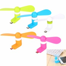 100% tested Mini 2 in 1 Portable Micro USB Fan For iPhone 5 6 hand Fans for Samsung HTC Sony Android OTG Smartphones USB Gadget