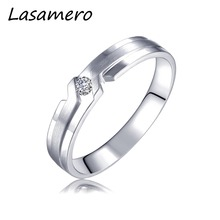 LASAMERO Rings for Men 0.065CT Round Cut Natural Diamond Center Ring 18k White Gold Engagement Wedding Ring(China)