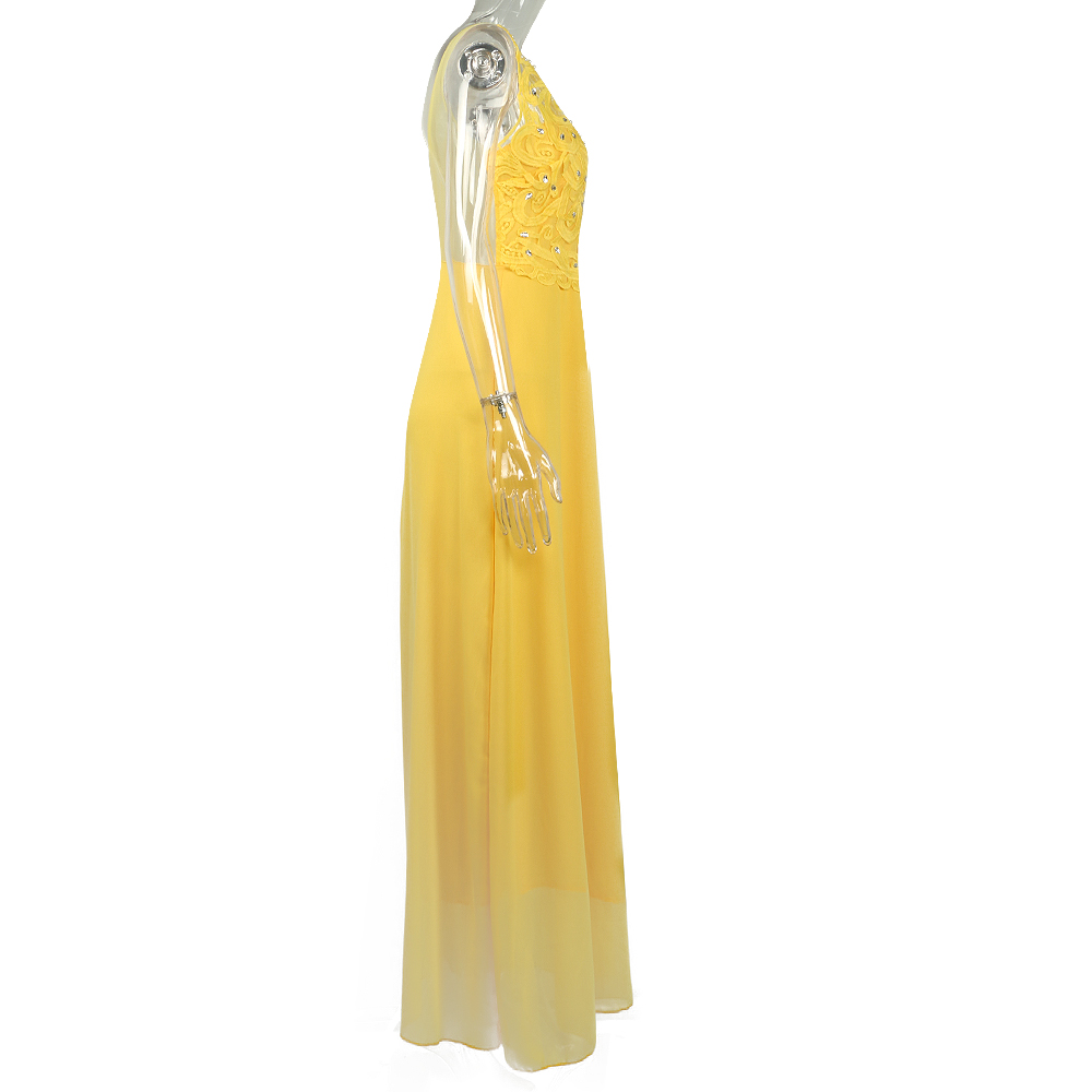 Yellow Lace Hollow Out Women Dresses 4