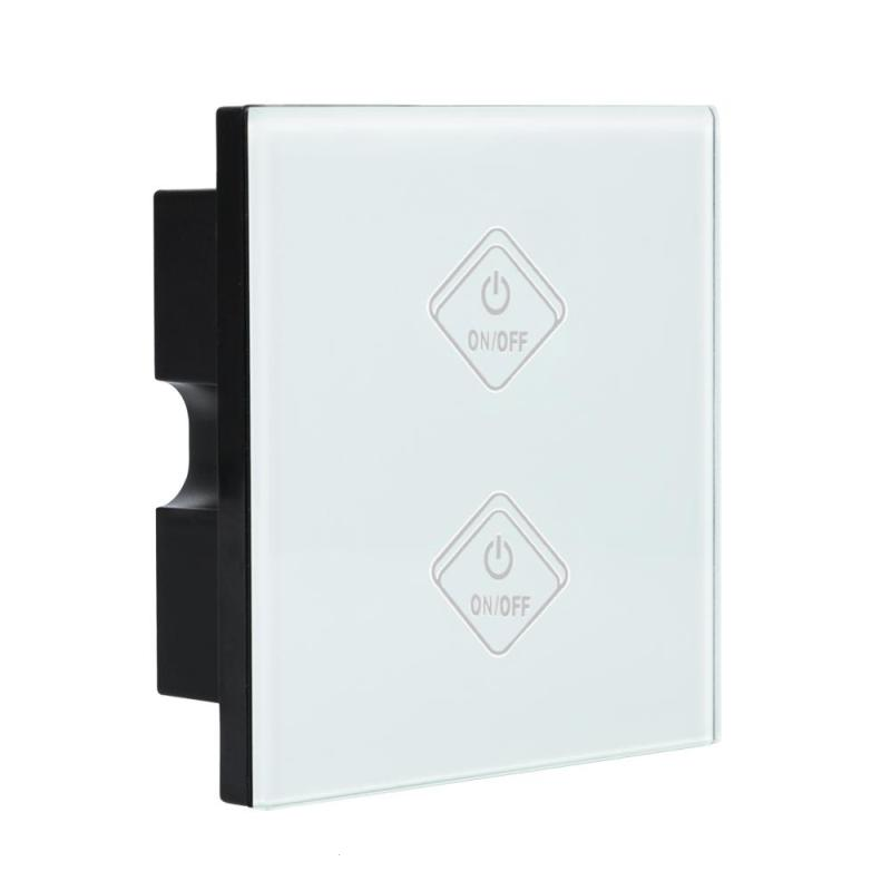 UK Standard Wifi 2 Gang Smart Light Wall Switch White Crystal Tempered Glass Panel Touch Screen Wireless Remote Control Switch<br>