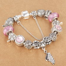 HOMOD 2017 New Style Angel Wings Charm Beads Bracelet Jewelry European Pandora Bracelets For Women Couple Gift(China)