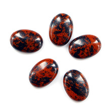 charms natural handmade material pump convex oval egg black red spot gem stone for ring pendant for jewelry making home decor(China)
