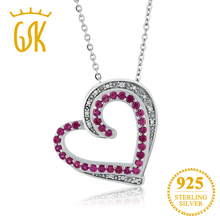 GemStoneKing Beautiful Heart Shape Created Ruby & Accent Diamond Pendant Necklace 925 Sterling Silver Jewelry For Women(China)