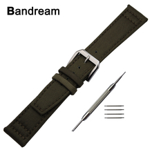 Canvas Nylon + Genuine Leather Watchband 22mm for Huawei Watch 2 (Classic) Vector Luna / Meridian Steel Buckle Band Wrist Strap(China)