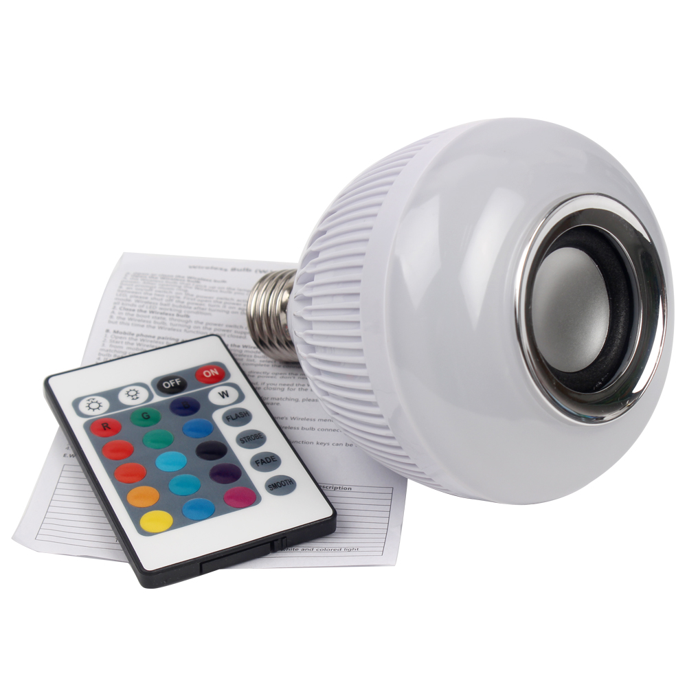 Wireless Bluetoorh Music Playing Lamp With 24 Keys Remote Control E27 Home Decoration RGB LED Speaker Bulb Dimmable<br><br>Aliexpress