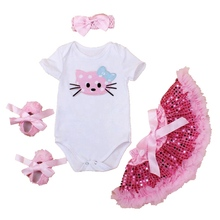Hello Kitty Baby Girl Summer Clothing Sets Bodysuit Sequin Lace Skirts Crib Shoes Headband 4PCS Newborn Tutu Sets Kids Clothes
