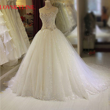 2017 hot bridal plus size slim tube top long trailing wedding dress ball gown(China)