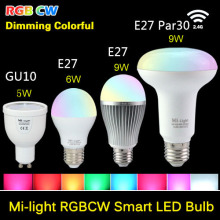 85-265V Milight 2.4G Wireless E27 GU10 RGBW RGB+WHITE RGB/WW RGB+WARM WHITE 4W/6W/9W PAR30 LED Light Dimmable Bulb Lamp
