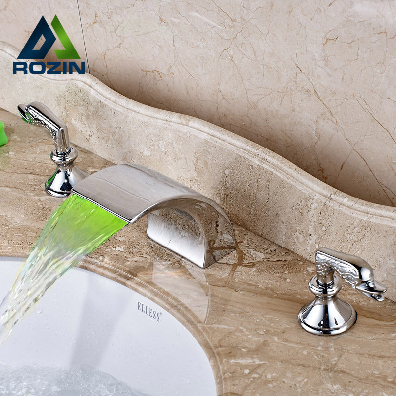 Deck Mounted Waterfall LED Basin Faucet Dual Handle Brass Bathroom Mixer Taps Dual Swan Switchs<br><br>Aliexpress
