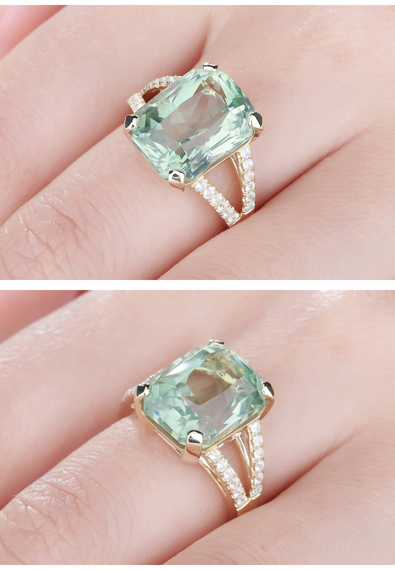 Luxury Big Irregular Light Green Stone Cut Engagement Ring Covered ...