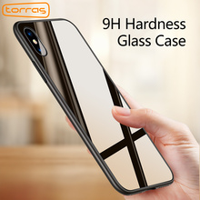 TORRAS Luxury Glass Case For iPhone X Case Ultra Thin 9H Hardness Tempered Glass Phone Case For iPhone X Shockproof Cover Cases(China)