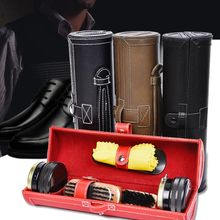 Fashion Shoe Shine Care Kit With Leather Compact Case Portable Travel Home Neutral Shoes Polish Set For Men Gifts @LS