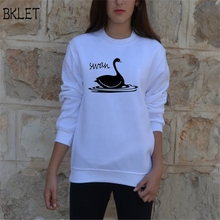 2017 New Autumn Spring Woman Cotton Female Tops Hip Hop T Shirts Streetwear Swan Letter Print Long Sleeve T-shirt(China)