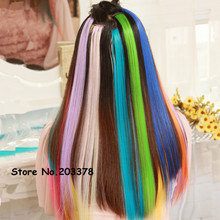 Fashion Women Colorful Hair Extension Long Synthetic Clip In Extensions Straight Hairpiece Party Highlights Punk hair pieces