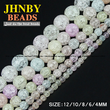JHNBY Light colorful crystal beads Natural stone Popcorn crystal Round Loose bead ball 4/6/8/10/12MM Jewelry bracelet Making DIY
