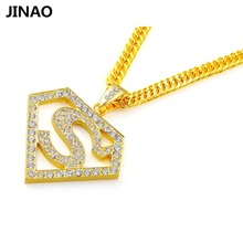 JINAO New Fashion Superman Badge Crystal Gold Color Plated Pendant Necklace Men Women Personality Trend Hip Hop Rock Jewelry(China)