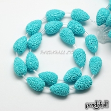 Dyed Synthetical Coral Drop Shaped Carved Flower Bud Beads Strands, Cyan, 21x14x14mm, Hole: 1mm; about 16pcs/strand, 17""