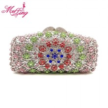 Luxury long shape rhinestone women evening party purse bridal wedding party wallet purses bag jeweled golden clutches(China)