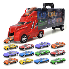 1 pcs Car Truck + 12 pcs Sedan Car Model Alloy Big Truck Cargo Metal Car Plastic Container Portable Boy Gift Free maps and dice(China)