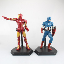 SAINTGI 1pcs Captain America Iron Man Avengers Action Stand FiguresHot Super Hero Marvel PVC 21cm Model Toys Gifts OPP BAG MOVIE