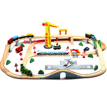 Luxury wooden Train Track Set Compatible with all magnetic train Locomotive kids toys gift(China)
