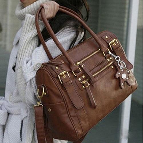 Womens Fashion Faux Leather Shoulder Bag Rivet Bear Decor Handbag Crossbody Bag<br><br>Aliexpress