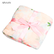 AINAAN Baby Blanket Muslin Swaddle Wraps Cotton Bamboo Baby Blankets Newborn Bamboo Muslin Blankets Rose Flowers(China)