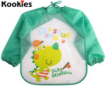 Baby Bibs Waterproof Toddler Long Sleeve Bib Boys Girls Apron Smock Bib Burp Cloths Children Feeding Eating Smock babador