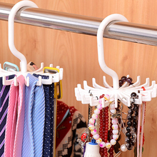 Hoomall Mini White Plastic Tie Rack Rotating Hook Tie Holder 1 Piece Holds 20 Ties/Belts/Scarves Hanger(China)