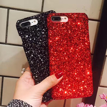 Luxury Bling Glitter Shining Flash Powder Capa for iPhone X 7 8 6 6S 5 5S SE Plus PC Hard Phone Case Cover Red Black(China)