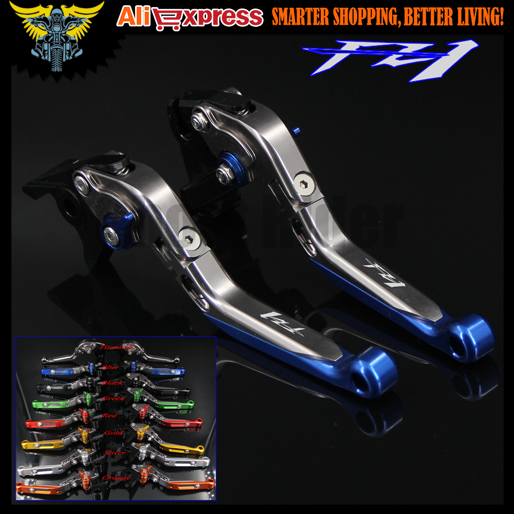 Logo(FZ1) Blue+Titanium Motorcycle Brake Clutch Levers For Yamaha FZ1 FAZER 2006 2007 2008 2009 2010 2011 2012 2013 2014 2015<br>