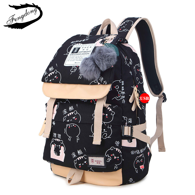 Fengdong Brand Women Backpack Shoulder Bag Female School Students Bag Travel Canvas Printing Backpack For Women Teenage Girls<br>